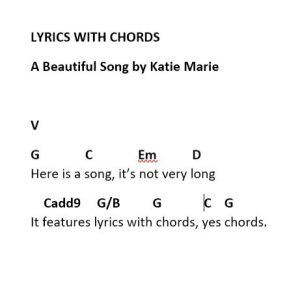 Lyrics with chords